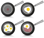 Set of Fried eggs on frying pan. Vector. Stock Image