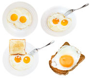 Set of fried eggs on white plate isolated Royalty Free Stock Image