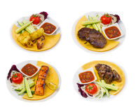 Set fried meat dish isolated Royalty Free Stock Photos