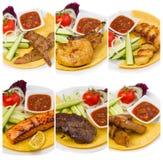 Set fried meat dish isolated Stock Image
