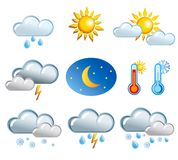Set of friendly weather icons Stock Photography