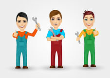 Set of friendly young plumbers Royalty Free Stock Images