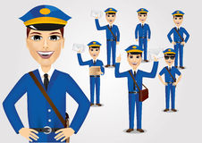 Set of friendly young postmen with bag Stock Image