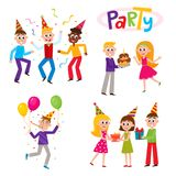 Set of friends having fun at birthday party Stock Photography