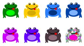 Set of Frogs in Different Colors - Chameleon Frog vector illustration