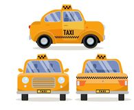Set of 3 Front, back and side views of Taxi Car. Yellow funny cute city vehicle, branding taxicab. Collection of 3 Diverse views. stock illustration