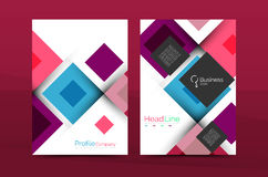 Set of front and back a4 size pages, business annual report design templates Stock Photos