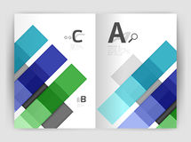 Set of front and back a4 size pages, business annual report design templates. Geometric square shapes backgrounds. Vector illustration Vector Illustration