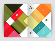 Set of front and back a4 size pages, business annual report design templates. Geometric square shapes backgrounds. Vector illustration Stock Illustration