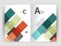 Set of front and back a4 size pages, business annual report design templates. Geometric square shapes backgrounds. Vector illustration Royalty Free Illustration
