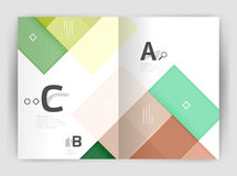 Set of front and back a4 size pages, business annual report design templates. Geometric square shapes backgrounds. Vector illustration Stock Images