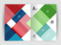 Set of front and back a4 size pages, business annual report design templates. Geometric square shapes backgrounds. Vector illustration Stock Photo