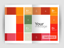 Set of front and back a4 size pages, business annual report design templates. Geometric square shapes backgrounds. Vector illustration Stock Image