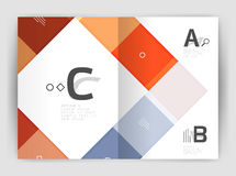 Set of front and back a4 size pages, business annual report design templates. Geometric square shapes backgrounds. Vector illustration Royalty Free Stock Photos
