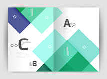 Set of front and back a4 size pages, business annual report design templates. Geometric square shapes backgrounds. Vector illustration Stock Photos