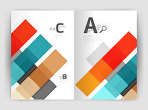 Set of front and back a4 size pages, business annual report design templates. Geometric square shapes backgrounds. Vector illustration Royalty Free Stock Images