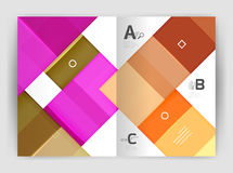 Set of front and back a4 size pages, business annual report design templates. Geometric square shapes backgrounds. Vector illustration Royalty Free Stock Photography