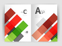 Set of front and back a4 size pages, business annual report design templates. Geometric square shapes backgrounds. Vector illustration Royalty Free Stock Photo