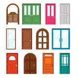 Set of front buildings doors in flat design style Royalty Free Stock Photography