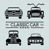 Set front view classic car icon vector illustrations Royalty Free Stock Images