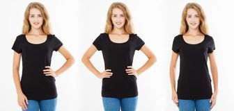 Set front views three women in tshirt isolated on white background, collage girl in black t shirt, blank,woman shirt. Set front views three woman in tshirt stock images
