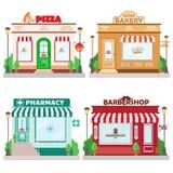 Set frontowi fasadowi budynki: piekarnia, zakład fryzjerski, pizzeria, apteka z znakiem i symbol w shopwindow, ilustracja wektor