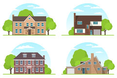 Set of frontview of english style suburban private houses. Flat Stock Photo