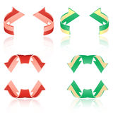 Set of frosted arrows. Red, green Royalty Free Stock Images