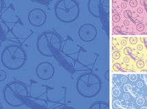 Set of frour tandem bicycles seamless patterns Royalty Free Stock Images