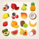 Set Fruchtikonen Die Abbildungen stock abbildung