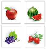 Set Fruit apple and watermelon and grapes and strawberries Royalty Free Stock Photos