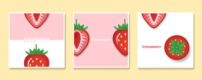 Set of fruit banners with strawberry in paper art style vector illustration