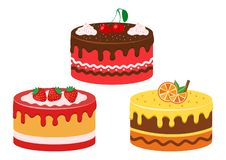 Set of fruit cakes. Strawberry, cherry and citrus. Vector vector illustration