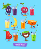 Set of fruit characters and fresh juice. Vector stock illustration