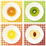 Set of fruit cross section Stock Photos