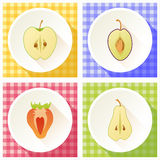 Set of fruit cross section Royalty Free Stock Image