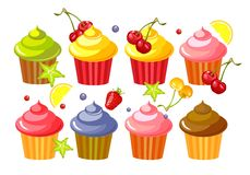 Set fruit cupcakes. Vector set of cupcakes with marshmallows and chunks of ripe berries isolated on white background Stock Photos