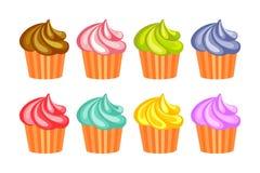 Set fruit cupcakes Stock Images