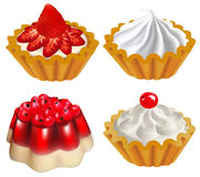 Set of fruit desserts with jelly and a cake with b. Illustration of a set of fruit desserts with jelly and a cake with berries Stock Photos
