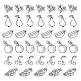 Set of fruit dividers and borders. Hand-drawn stock illustration