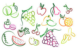 The  set of fruit drawing icons Stock Photo