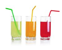 Set of fruit drinks Stock Photos