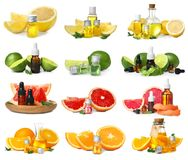 Set with fruit essential oils. On white background royalty free stock images