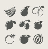 Set of fruit food icon Stock Photography