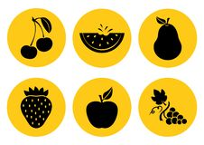 Set of fruit icons. Vector illustration royalty free illustration