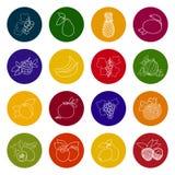 Set Fruit Icons Stock Photos