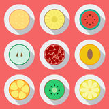 Set of fruit icons. Flat design. Vector� Royalty Free Stock Image