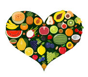 Set of fruit icons forming heart shape. Royalty Free Stock Images