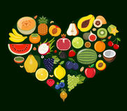 Set of fruit icons forming heart shape. Royalty Free Stock Photo