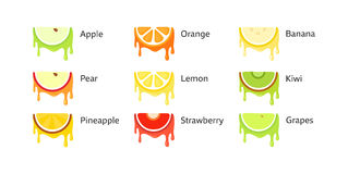 Set of Fruit Icons Stock Photography
